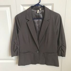 Gray Blazer with 3/4-Length Sleeves
